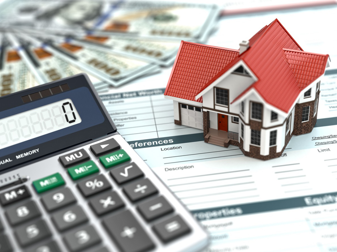 Mortgage Calculator. House, Noney And Document. 3d